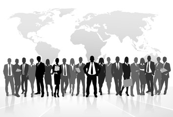 Business people crowd group silhouette concept businesspeople