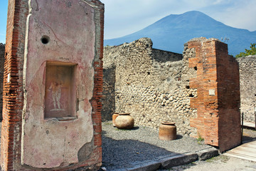 Pompeii house with Vesuvio in the background