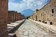 roman street of Pompeii and Vesuvio
