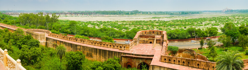 Agra fort ramparts panoramic view
