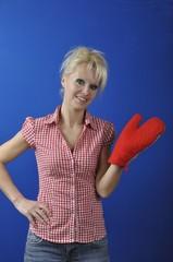 Woman with  kitchen glove