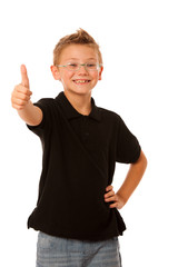 Young caucasian boy gesturing ok sign  isolated over white backg