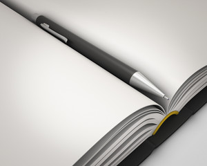 Notepad with pen close-up.
