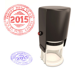 Plastic stamp with the text Happy new year 2015 isolated on whit