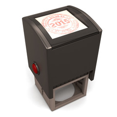 Plastic stamp with the text Happy new year 2015