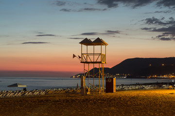 The sunset at the Cleopatra beach  in Alanya. Turkey
