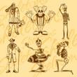 Skeletons - clowns. Vector set. Vinyl-ready illustration. - 73212523
