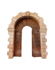 architectural arch on a white background, with wood inserts