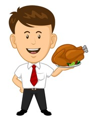 Young Office Worker holding Thanksgiving Turket