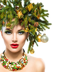 New Year and Christmas Tree Holiday Hairstyle and Makeup