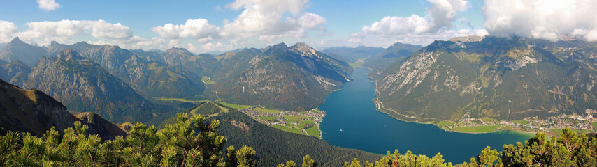picturesque landscape and panoramic view to achensee, a