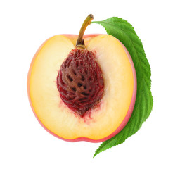 Half of fresh peach isolated on white