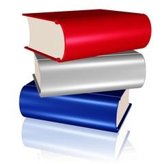 Bücherstapel in den Farben der niederländischen Flagge