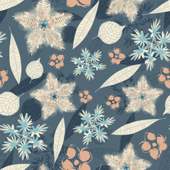 leaves and flowers on a blue background