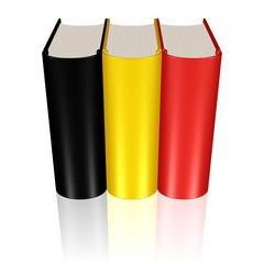 Buchreihe in den Farben der Flagge Belgiens