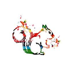 Colorful squirrel design