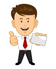 Young Office Worker Holding a Business Card and Giving Thumbs Up