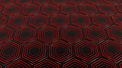 hexagons red light background