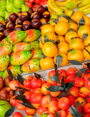 Choice of marzipan fruits, typical Sicilian pastry