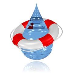 Wassertropfen und Rettungsring - Trinkwasserschutz, Umweltschutz
