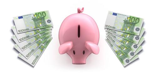 Sparschwein mit 100 Euroscheinen
