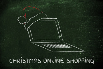 computer with santa claus hat, concept of Christmas shopping onl