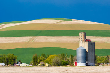 Cropped fields with grain silo