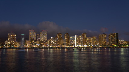 Honolulu skyline with seafront, time lapse