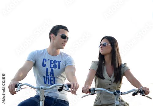 Couple rides  a bike - 73218585