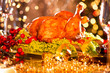 canvas print picture - Christmas table setting with roasted turkey