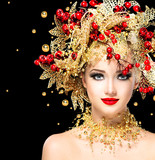 Fototapety Christmas winter fashion model girl with golden hairstyle