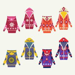 Set of female winter cardigans