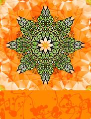 Green stylized flower over bright orange background