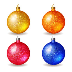 Set of bright colored Christmas balls, isolated on white