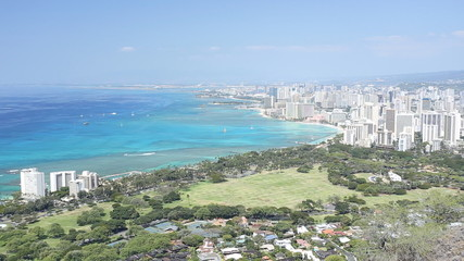 Honolulu aerial view from top of Diamond head mountain, Hawaii
