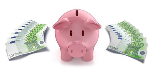 Sparschwein mit 100 Euroscheinen 2