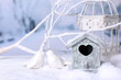 canvas print picture - Beautiful Christmas composition with small bird house