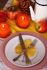 Festive autumn serving table close-up