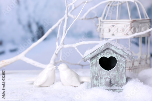 canvas print picture Beautiful Christmas composition with small bird house
