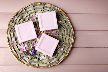 Bars of natural soap with fresh lavender