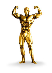 Illustration of a golden man with muscular body