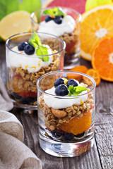 Breakfast parfait with oranges, granola, yogurt