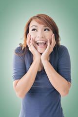 happy Asian girl face