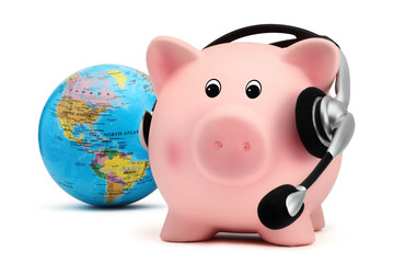 piggy bank with headset and globe isolated on white background