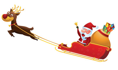 Santa riding reindeer sleigh in Christmas 2