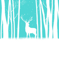 Silhouette of a reindeer in woods for Christmas theme