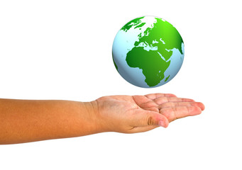 Child hand holding the planet