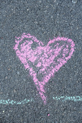 I love you words, written on pavement
