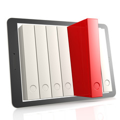 Red book and tablet