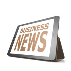 Tablet with business news word